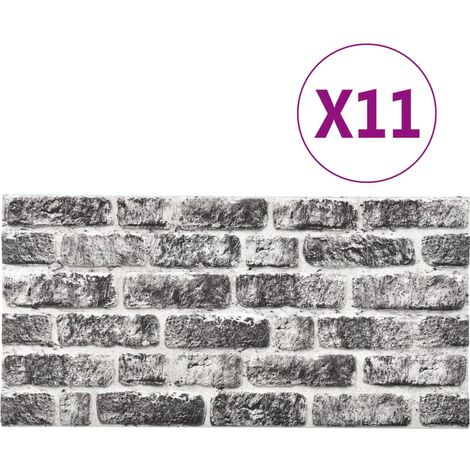 vidaXL 3D Wall Panels with Dark Grey Brick Design 11 pcs EPS - Grey