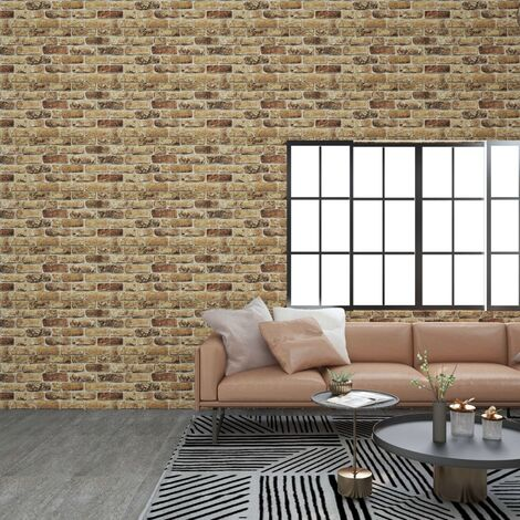 vidaXL 3D Wall Panels with Dark Sand Brick Design 11 pcs EPS - Beige