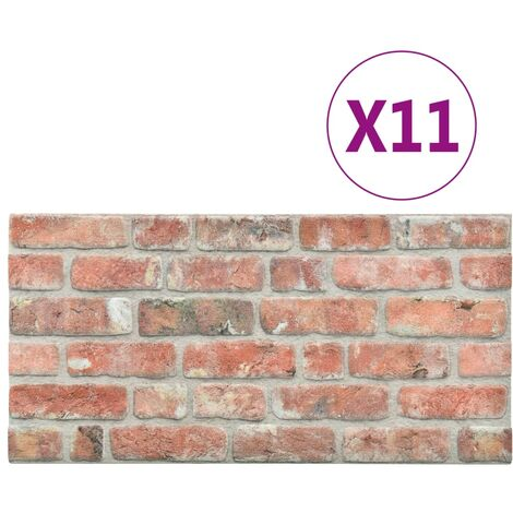 vidaXL 3D Wall Panels with Red Brick Design 11 pcs EPS - Red
