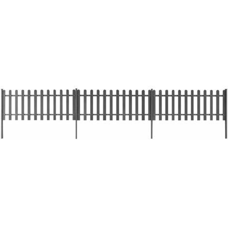 vidaXL 3x Clôture à Piquets avec Poteaux WPC Panneau de Clôture Barrière Décorative de Jardin Patio Terrasse Extérieur Multi-taille