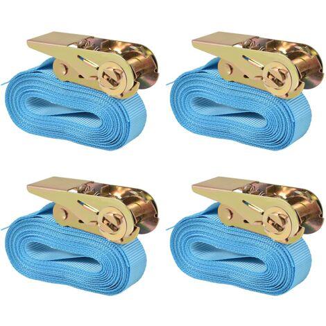 vidaXL 4/10x Cinghie d'Ancoraggio a Cricchetto Professionali Imbracature Sicurezza Carico Trasporto in Poliestere Misure Diverse Blu/Arancione