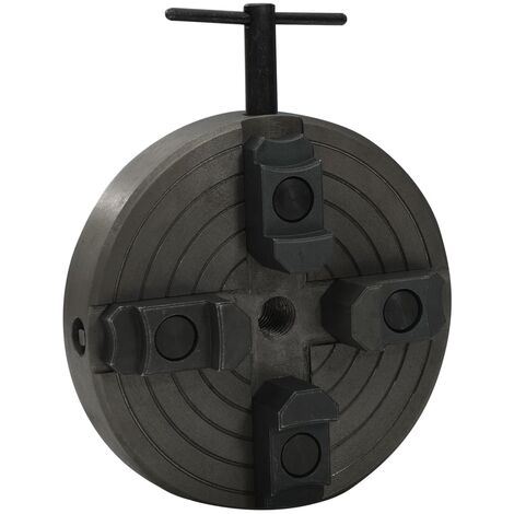 """main image of """"vidaXL 4 Jaw Wood Chuck with M18 Connection Steel Black 150x63 mm"""""""