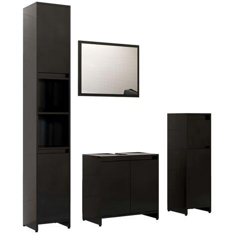 "main image of ""vidaXL 4 Piece Bathroom Furniture Set Black Chipboard - Black"""