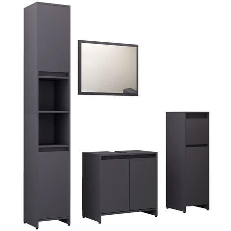 "main image of ""vidaXL 4 Piece Bathroom Furniture Set Grey Chipboard - Grey"""