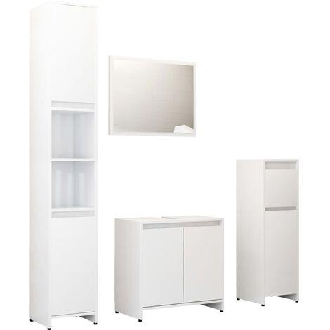 "main image of ""vidaXL 4 Piece Bathroom Furniture Set High Gloss White Chipboard - White"""