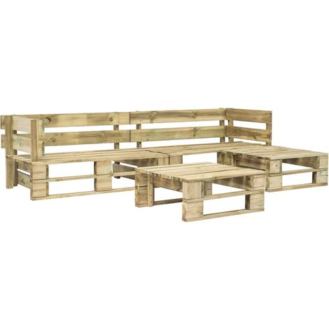 vidaXL 4 Piece Garden Lounge Set Pallets Wood - Brown