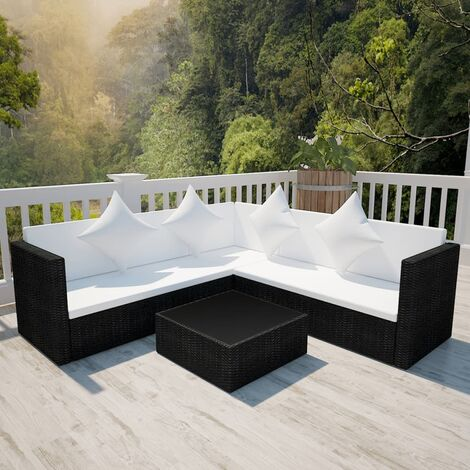 vidaXL 4 Piece Garden Lounge Set with Cushions Poly Rattan Black - Black