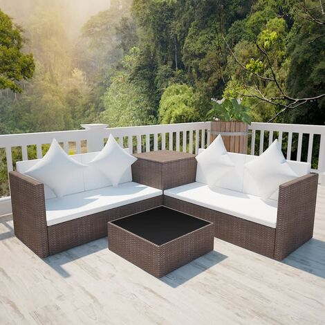 vidaXL 4 Piece Garden Lounge Set with Cushions Poly Rattan Brown - Brown
