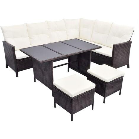 vidaXL 4 Piece Garden Lounge Set with Cushions Poly Rattan Brown - Brown
