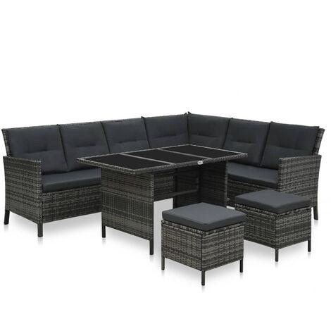 vidaXL 4 Piece Garden Lounge Set with Cushions Poly Rattan Grey - Grey