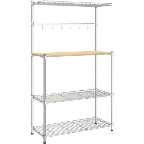 vidaXL 4-Tier Microwave Oven Shelf 90x35x150 cm Chromed Iron - Silver