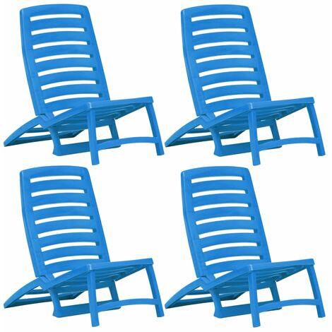vidaXL 4x Chaise Plage Pliable Plastique Chaise de Jardin Extérieur Bleu/Blanc