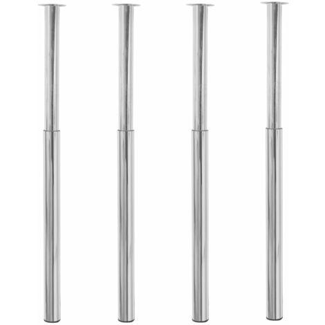 vidaXL 4x Pieds de Table Télescopique Pieds de Rechange de Table Pieds de Plan de Travail Bureau Table de Bar 710 mm - 1100 mm Multicolore