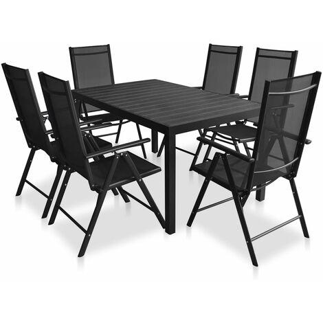 vidaXL 5/7/9x Outdoor Dining Set Garden Patio Porch Backyard Balcony Courtyard Dinner Furniture Table and Chairs Aluminium and WPC Black