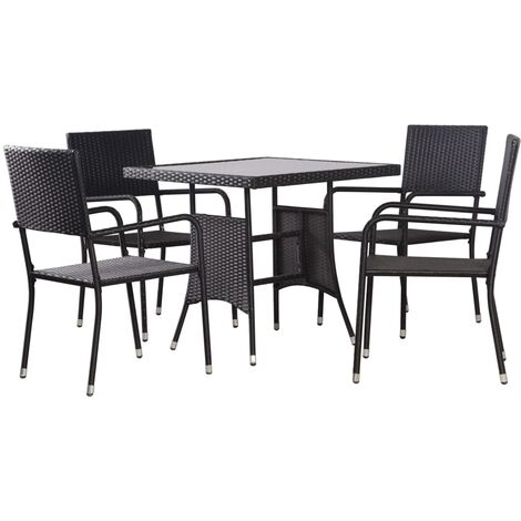 vidaXL 5 Piece/7 Piece/9 Piece Outdoor Dining Set Outdoor Indoor Kitchen Living Room Dining Room Kitchen Table and Chairs Home Furniture Poly Rattan Black