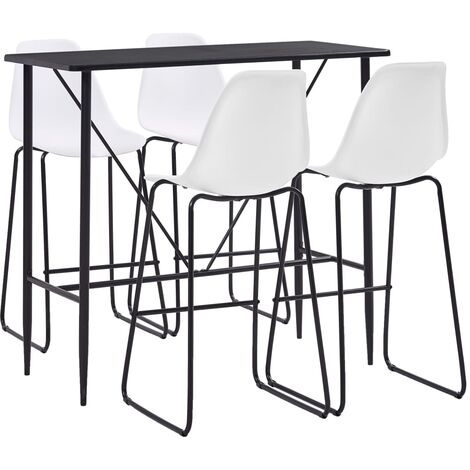 vidaXL 5 Piece Bar Set Plastic Kitchen Dining Room Dinner Pub Bistro Patio Home Indoor Restaurant Tables and Chairs Furniture Multi Colours