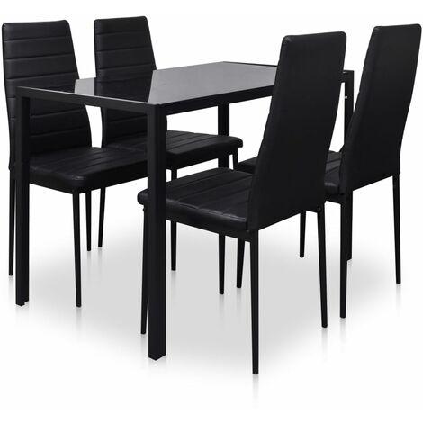 "main image of ""vidaXL 5 Piece Dining Table Set Black - Black"""