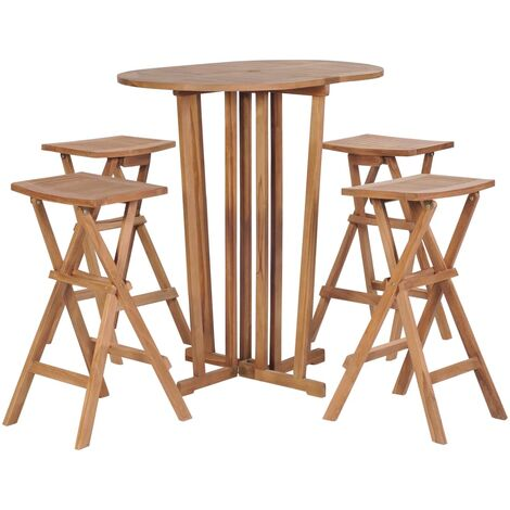 vidaXL 5 Piece Folding Bar Set Solid Teak Wood - Brown