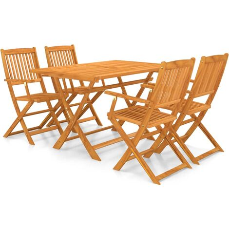 vidaXL 5 Piece Folding Outdoor Dining Set Solid Acacia Wood - Brown