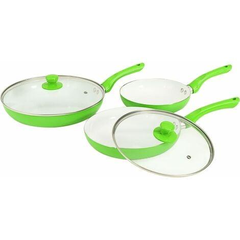 vidaXL 5 Piece Frying Pan Set Green Aluminium - Green
