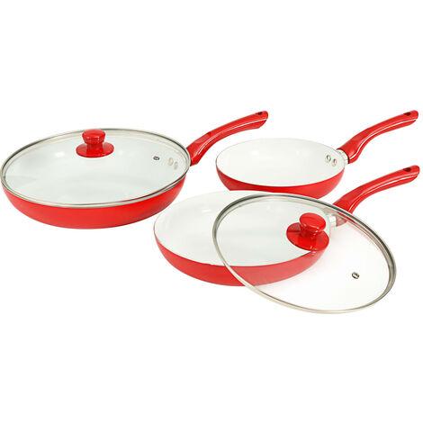 vidaXL 5 Piece Frying Pan Set Red Aluminium - Red