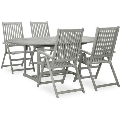 vidaXL 5 Piece Garden Dining Set Solid Acacia Wood Grey - Grey