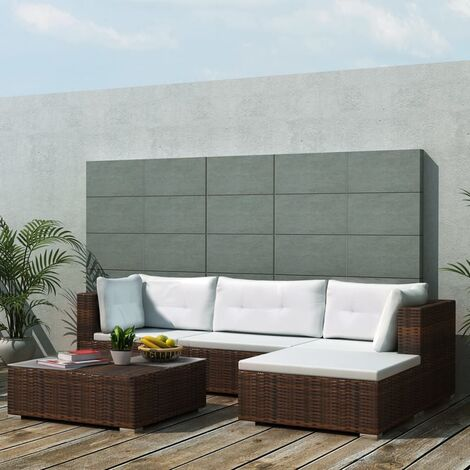 vidaXL 5 Piece Garden Lounge Set with Cushions Poly Rattan Brown - Brown