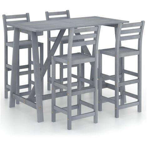 vidaXL 5 Piece Outdoor Bar Set Grey Solid Acacia Wood - Grey