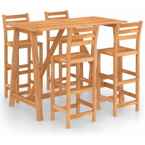vidaXL 5 Piece Outdoor Bar Set Solid Acacia Wood - Brown