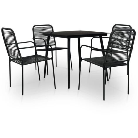 vidaXL 5 Piece Outdoor Dining Set Cotton Rope and Steel Black - Black
