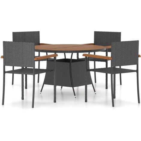 vidaXL 5 Piece Outdoor Dining Set Poly Rattan Black - Black