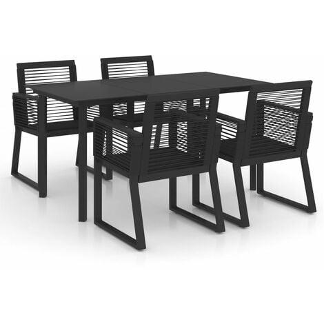 "main image of ""vidaXL 5 Piece Outdoor Dining Set PVC Rattan Black - Black"""