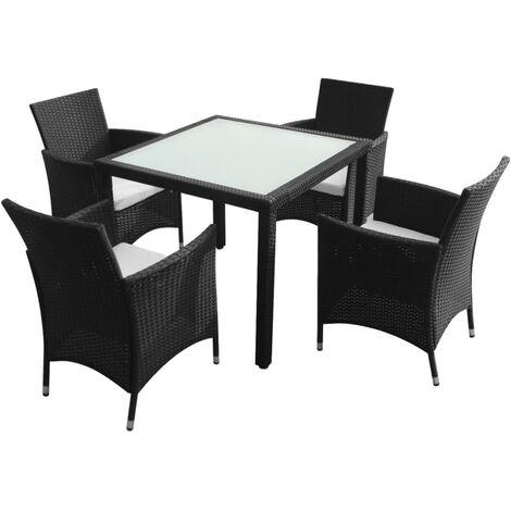 vidaXL 5 Piece Outdoor Dining Set with Cushions Poly Rattan Black - Black