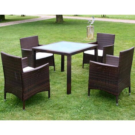 vidaXL 5 Piece Outdoor Dining Set with Cushions Poly Rattan Brown - Brown