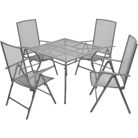vidaXL 5 Piece Outdoor Dining Set with Folding Chairs Steel Anthracite - Anthracite