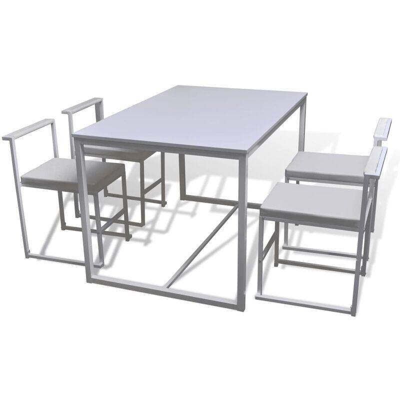 Vidaxl - Essgruppe Tisch 4 Stühle 5-tlg. Weiß