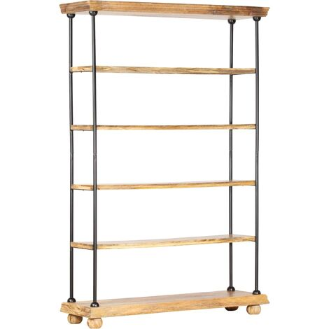 vidaXL 5-Tier Bookshelf 120x35x180 cm Solid Mango Wood and Steel - Brown
