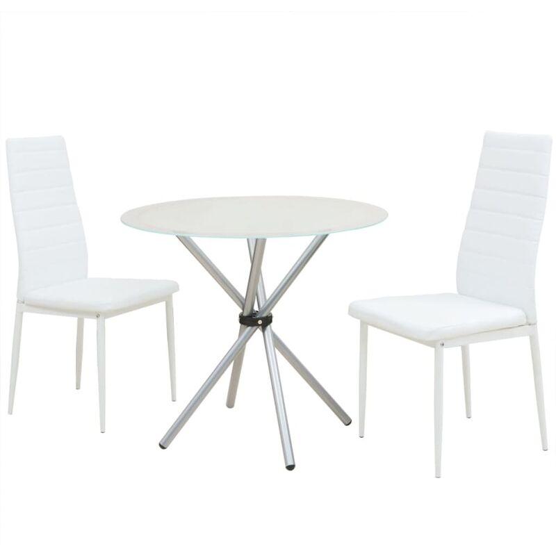 Essgruppe Esstisch mit Stühlen Weiß 3-tlg. - VIDAXL