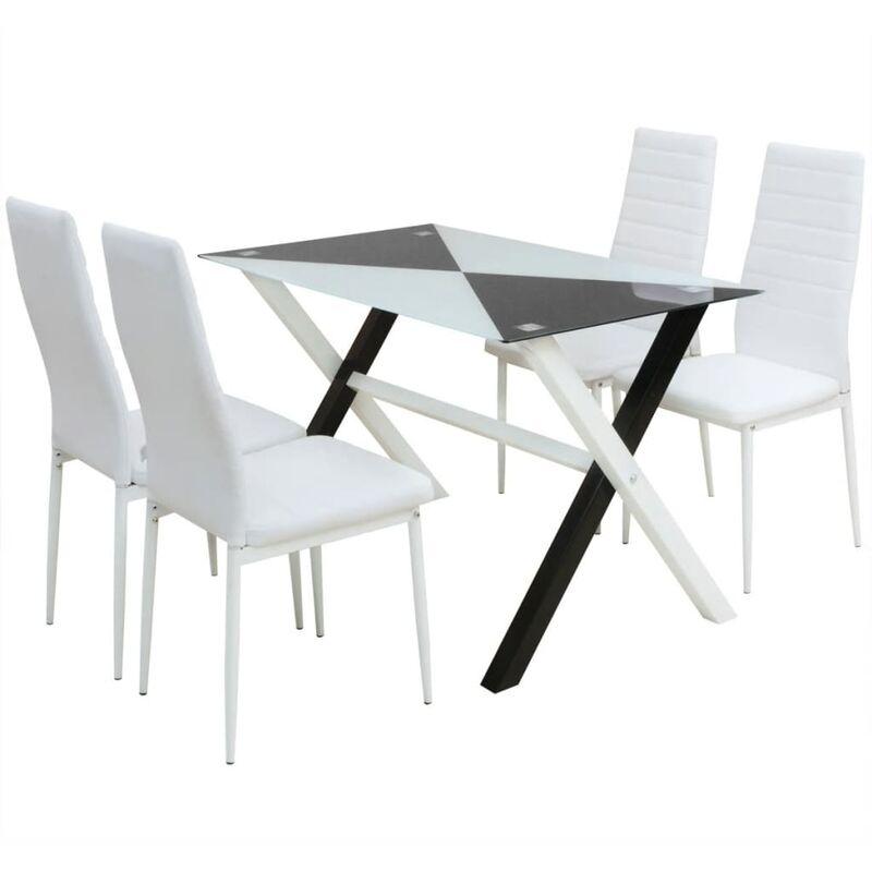 5-tlg. Essgruppe Esstisch und Stühle Kunstleder - VIDAXL