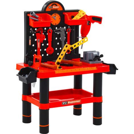 vidaXL 51 Piece Kids' Playroom Toy Workbench Set 57x32x68 cm - Red