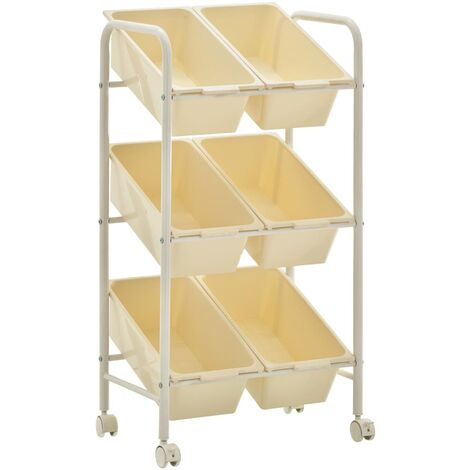 vidaXL 6-Basket Toy Storage Trolley White Plastic - White