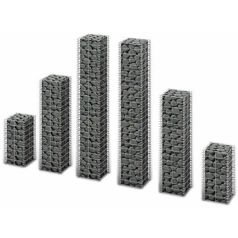 vidaXL 6 Piece Gabion Set Galvanised Wire - Silver