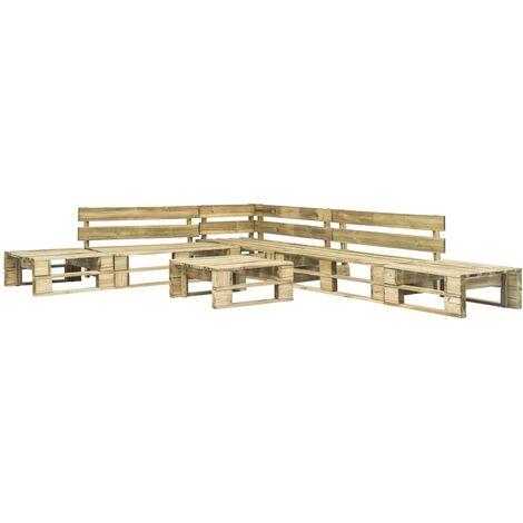 vidaXL 6 Piece Garden Lounge Set Pallets Wood - Brown