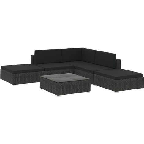 vidaXL 6 Piece Garden Lounge Set with Cushions Poly Rattan Black - Black