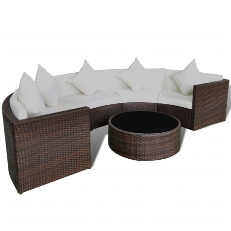 """main image of """"vidaXL 6 Piece Garden Lounge Set with Cushions Poly Rattan Brown - Brown"""""""