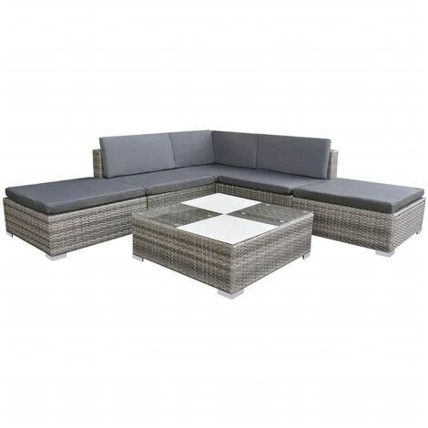 vidaXL 6 Piece Garden Lounge Set with Cushions Poly Rattan Grey - Grey