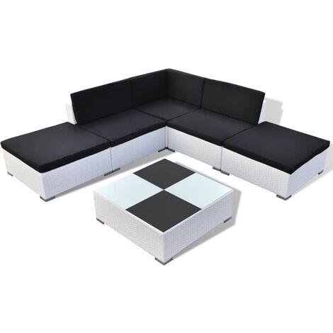 vidaXL 6 Piece Garden Lounge Set with Cushions Poly Rattan White - White
