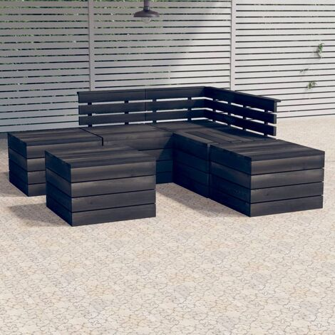 vidaXL 6 Piece Garden Pallet Lounge Set Solid Pinewood - Grey