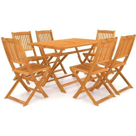 vidaXL 7 Piece Folding Garden Dining Set Solid Acacia Wood - Brown