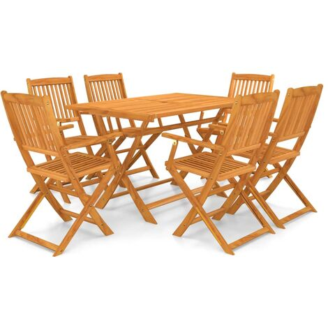 vidaXL 7 Piece Folding Outdoor Dining Set Solid Acacia Wood - Brown